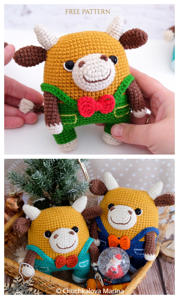 Amigurumi Fofo the bull Free Crochet Patterns