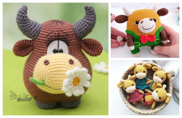 Stuffed Bull Crochet bull toy Stuffed animal