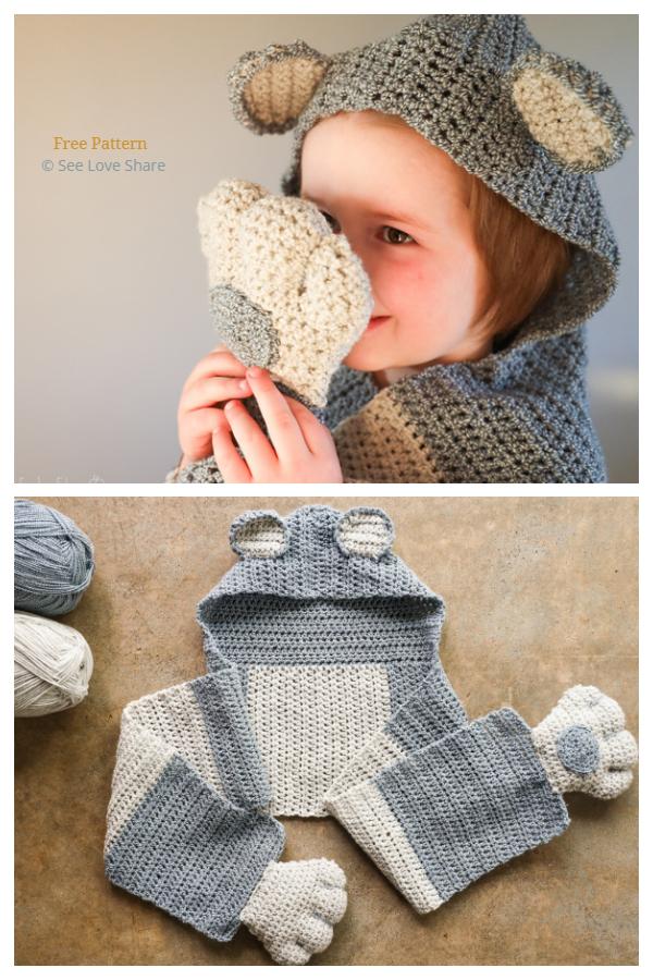 Bear Hugs Hood & Scarf  Free Crochet Pattern