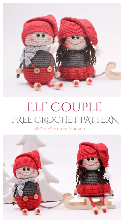 Crochet Christmas Elf Couple Amigurumi Free Pattern