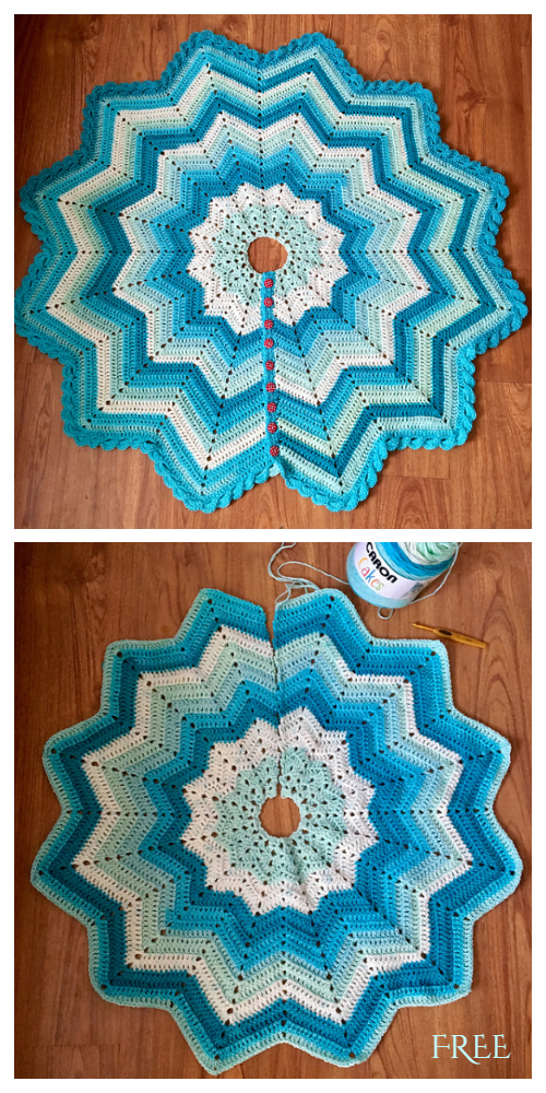 Star Ripple Christmas Tree Skirt Free Crochet Pattern