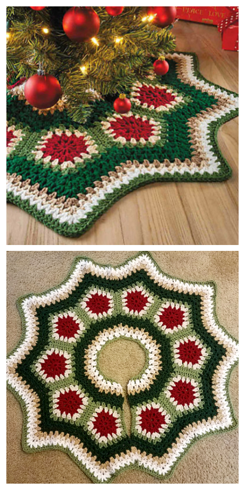 Christmas Granny Ripple Tree Skirt Crochet Pattern