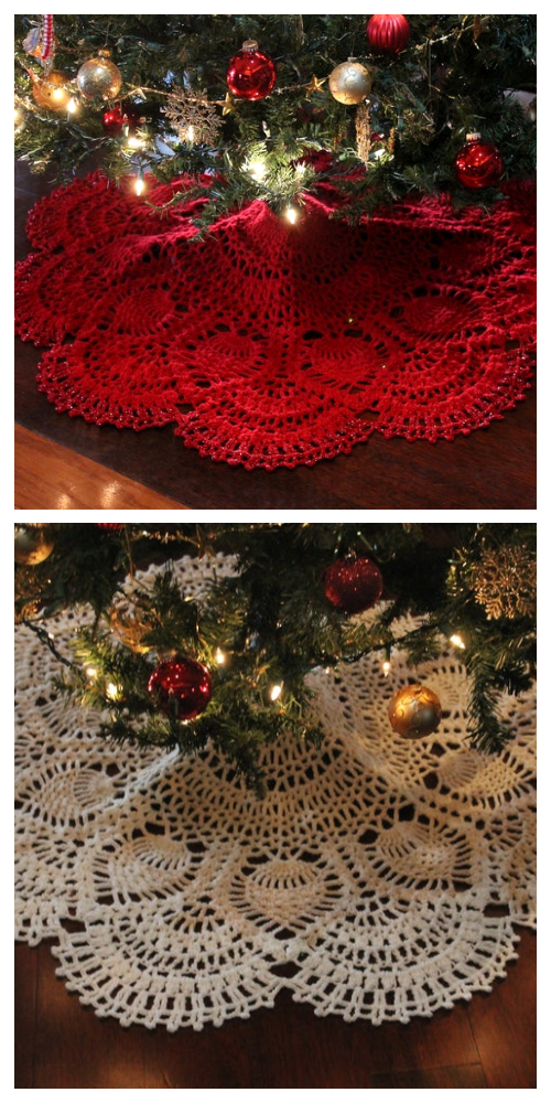 Cranberry Pineapple Tree Skirt Crochet Patterns