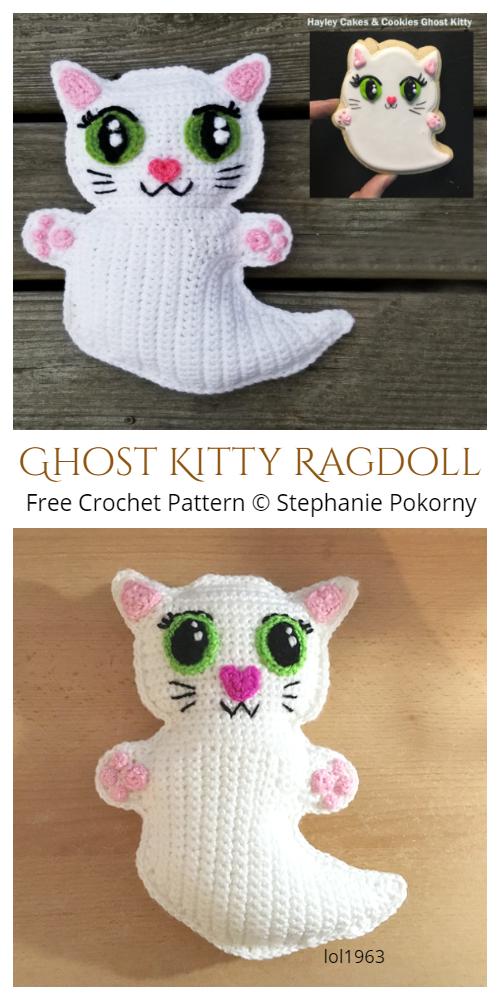 Crochet Halloween Ghost Kitty RagdollAmigurumi Free Pattern