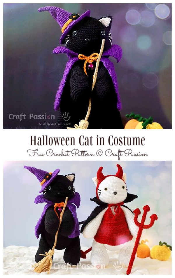 Crochet Halloween Pumpkin CatAmigurumi Free Pattern