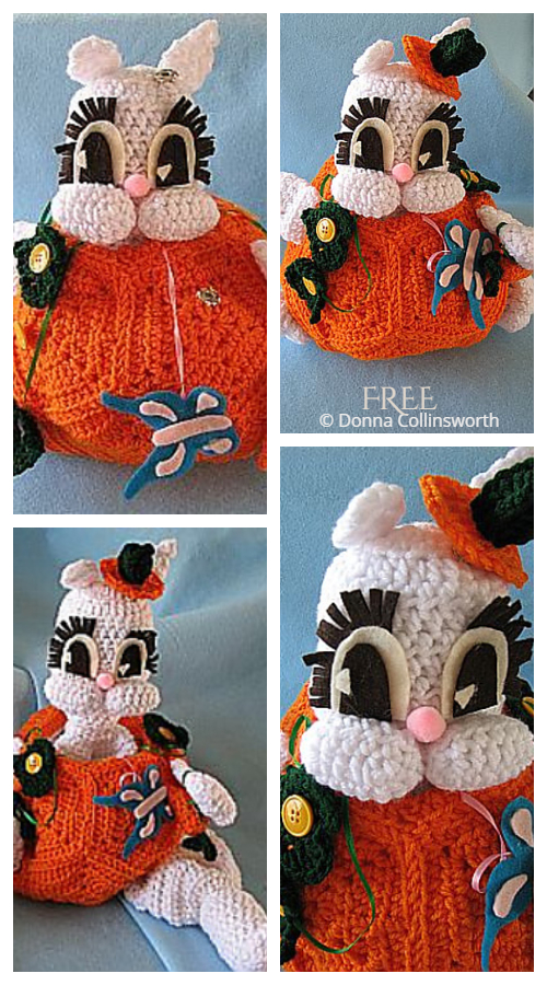 Crochet Rabbit in Pumpkin Patch Critters Amigurumi Free Patterns