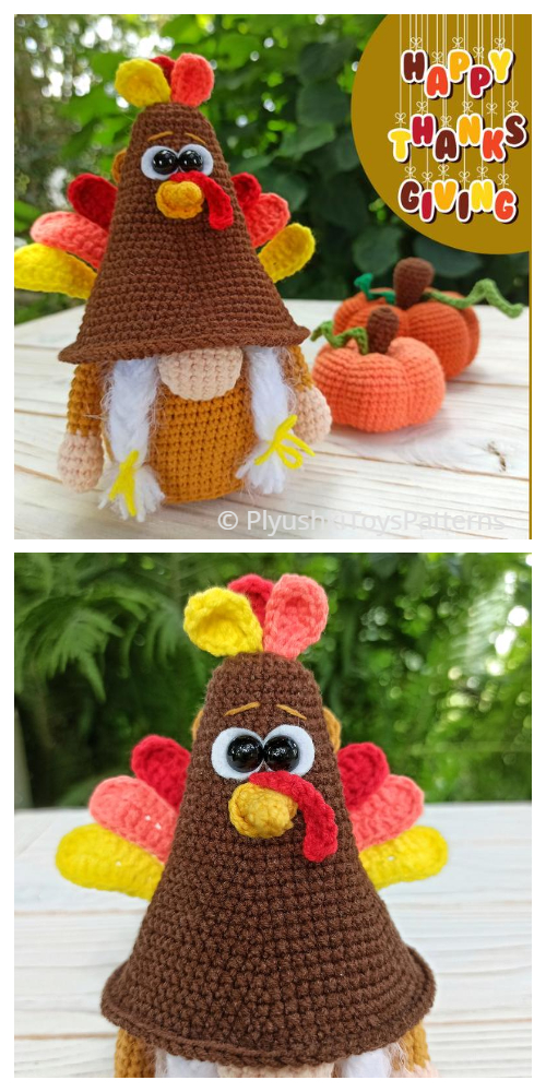 Crochet Turkey Gnome Amigurumi Patterns