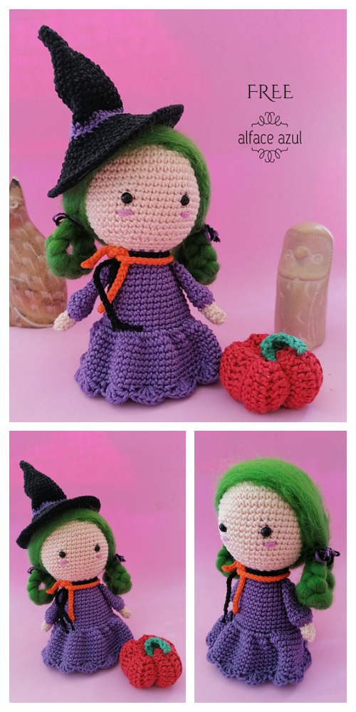 Abobora little Doll Witch Amigurumi Free Crochet Pattern
