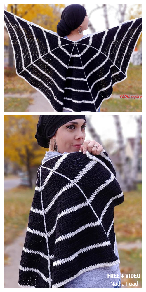 Halloween Spider Web Wrap Shawl Free Crochet Pattern + Video