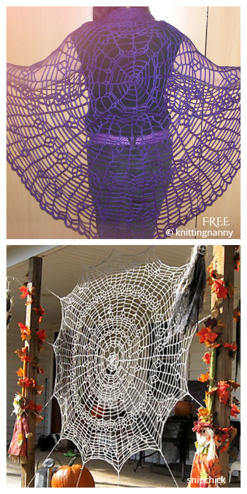 Halloween Spider Web Shawl Free Crochet Patterns