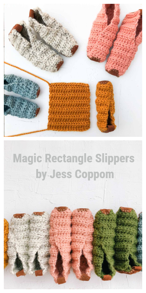 Magic Rectangle Slippers Free Crochet Pattern