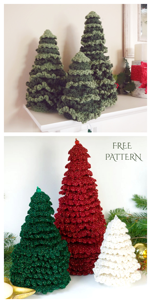Ruffle Fir Christmas Trees Free Crochet Pattern + Video
