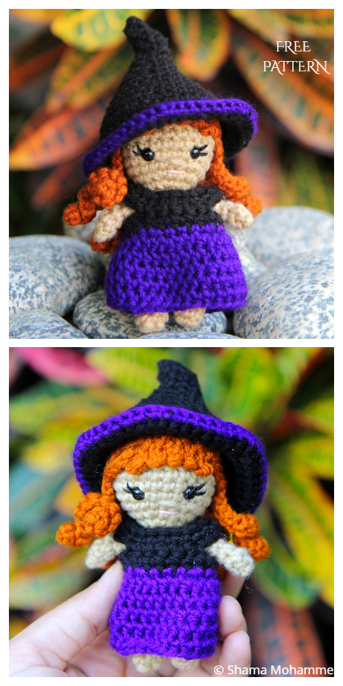 Amigurumi Zeena mini Witch Free Crochet Pattern