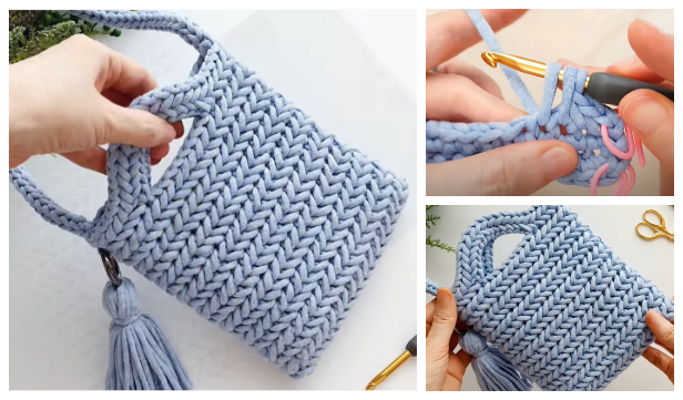 Herringbone Stitch Bag Free Crochet Pattern + Video
