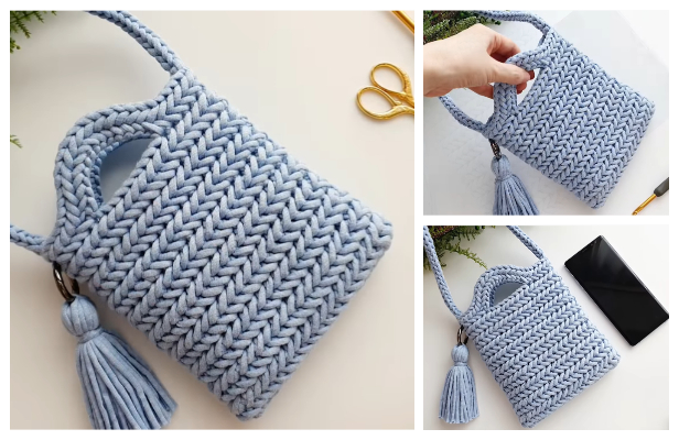 Herringbone Stitch Bag Free Crochet Pattern + Video