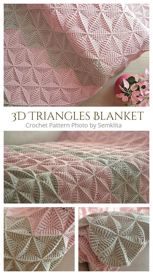 3D Triangle Blanket Free Crochet Pattern + Video