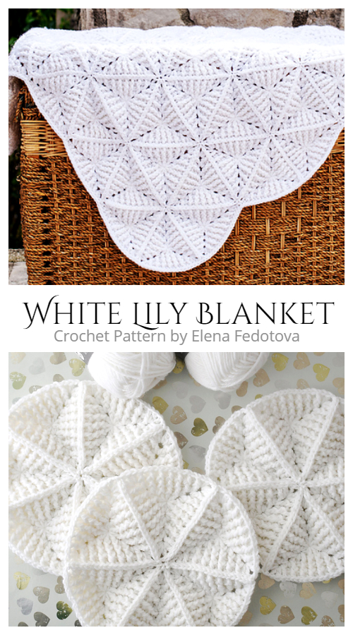 Triangle White Lily Blanket Crochet Pattern