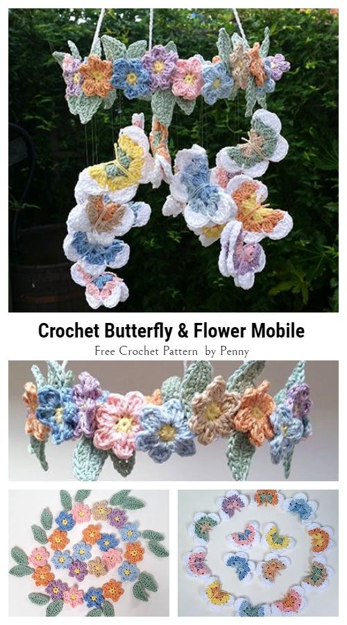 Baby Butterfly & Flower Mobile Free Crochet Patterns