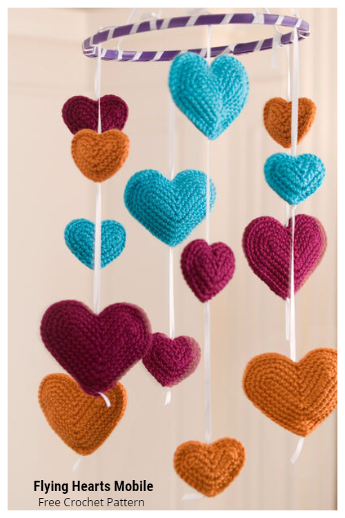 Flying Hearts Mobile Free Crochet Patterns