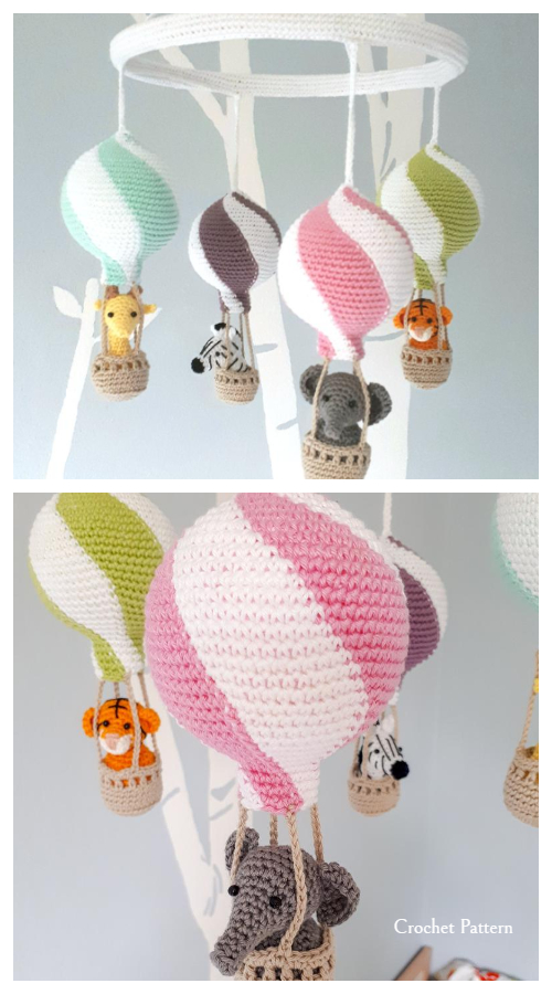 Baby Hot air balloon Mobile Crochet Patterns
