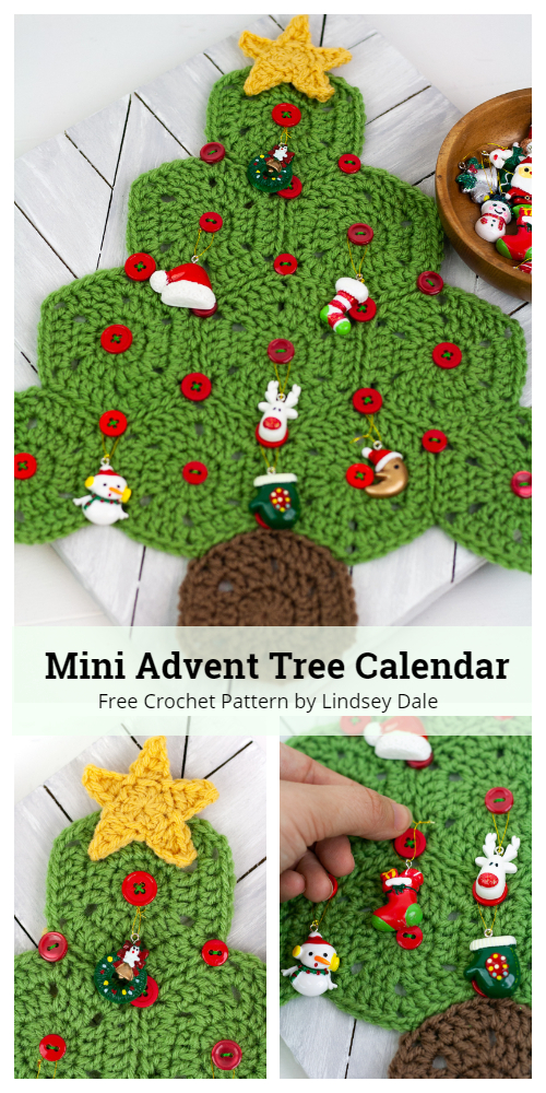 Mini Advent Christmas Tree Calendar Free Crochet Patterns