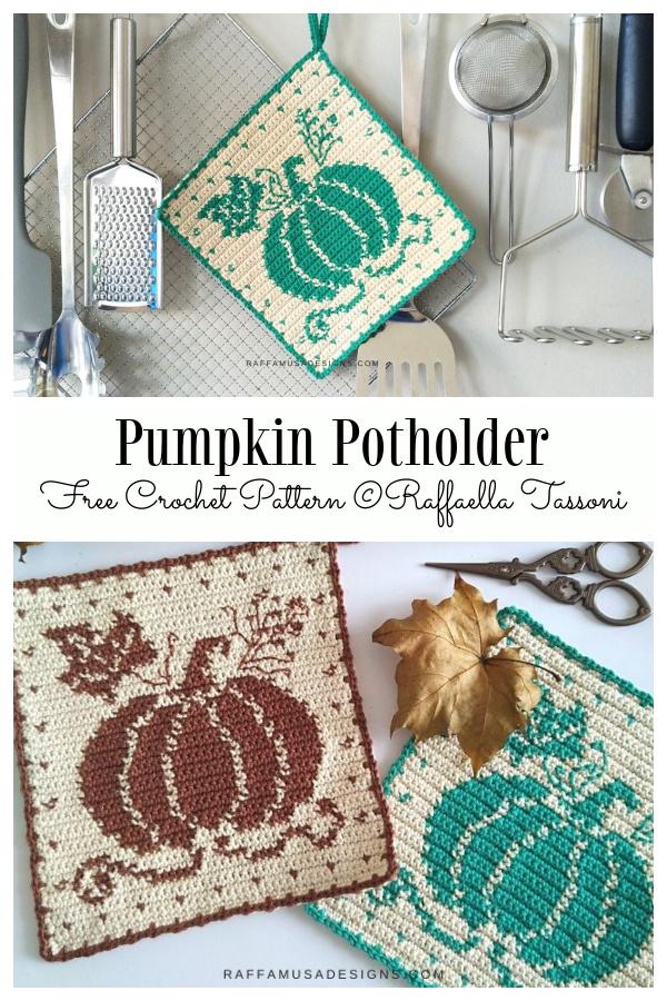 Pumpkin Potholder Free Crochet Patterns