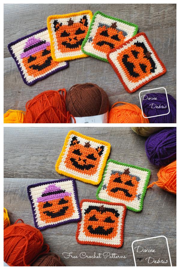 Halloween Pumpkin Coaster Free Crochet Patterns