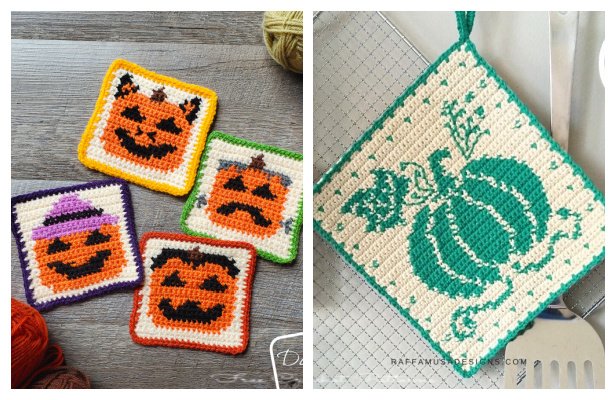 Cute Pumpkins Mug Rugs/Coaster Free Crochet Patterns