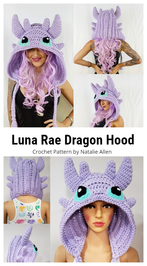 Luna Rae Dragon Hood  Hat Crochet Patterns