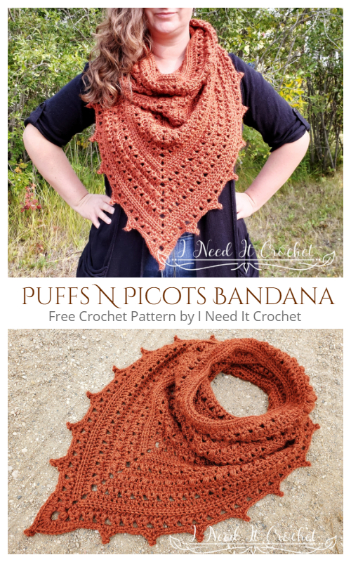 Puffs N Picots Bandana Cowl Free Crochet Patterns