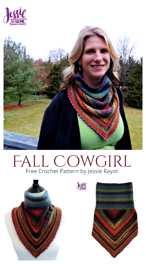 Fall Cowgirl Bandana Cowl Free Crochet Patterns