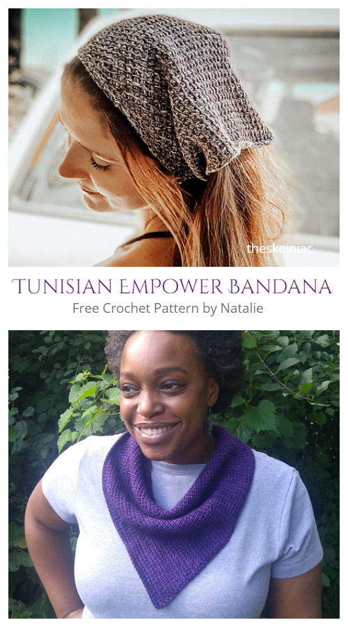 Tunisian Crochet EmPower Bandana Cowl Free Crochet Patterns