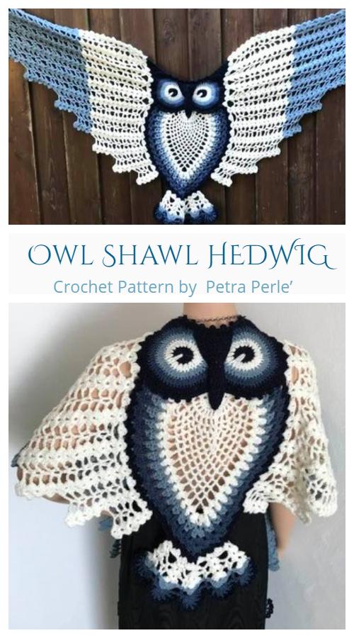 Petra Perle's Owl Shawl HEDWIG Crochet Pattern