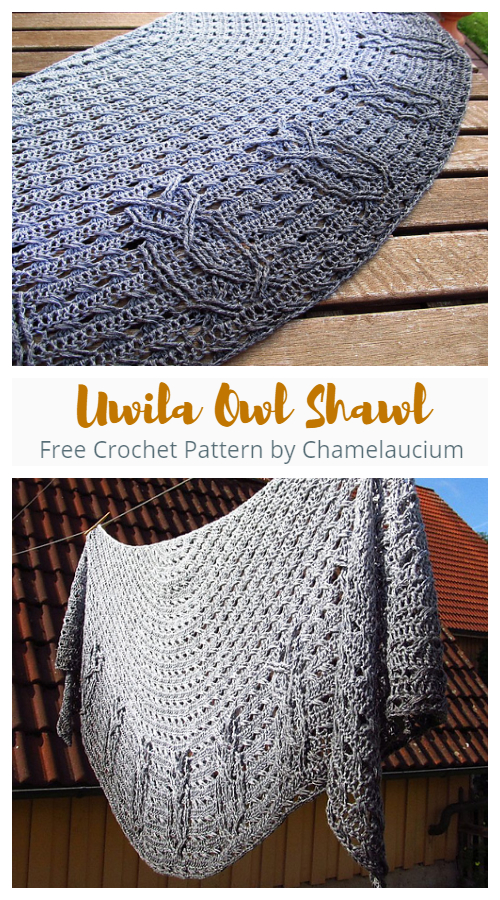 Uwila Owl Shawl Free Crochet Pattern