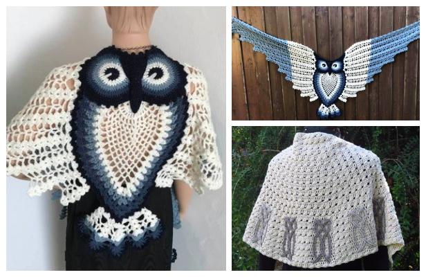 Owl Shawl Free Crochet Patterns & Paid