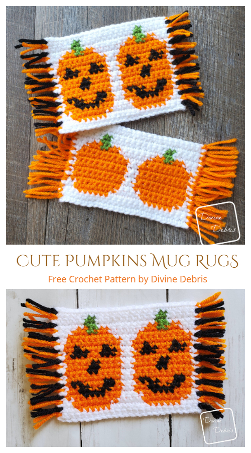 Cute Pumpkins Mug Rugs/Coaster Free Crochet Patterns