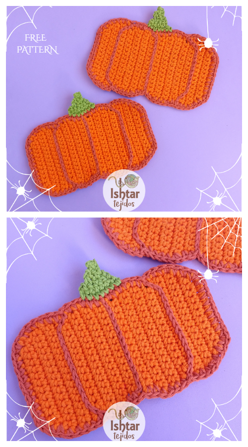 Pumpkin Coaster Free Crochet Patterns