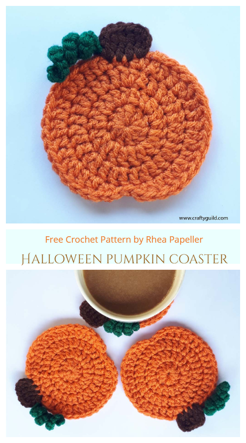 Halloween Pumpkin Coaster Free Crochet Patterns
