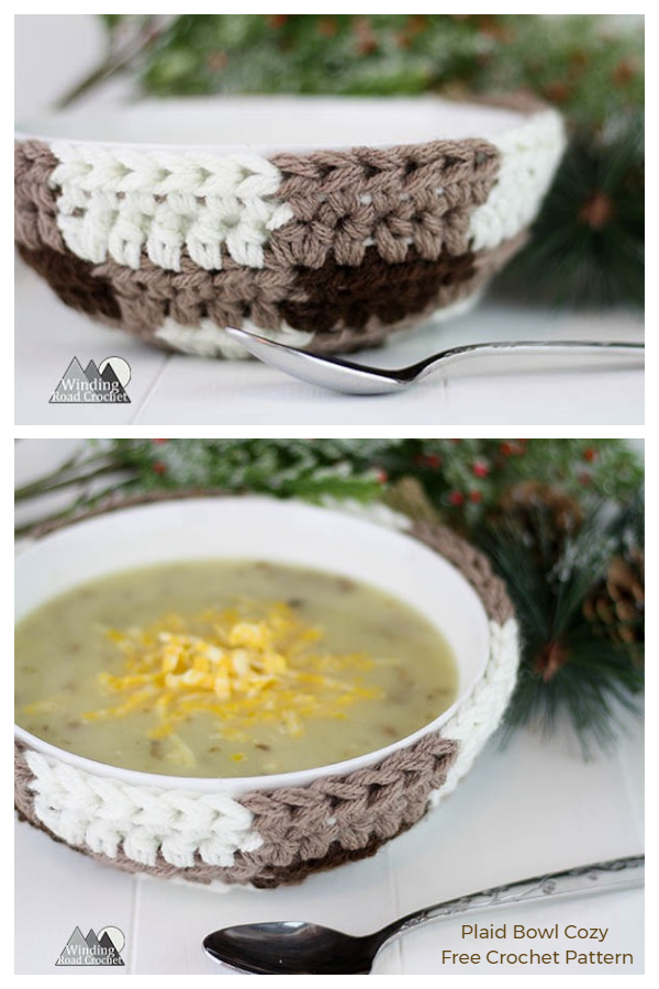 Plaid Bowl Cozy Free Crochet Pattern