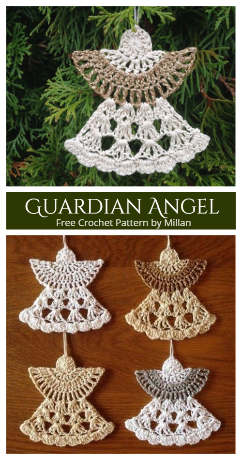 Guardian Angel Christmas Ornaments Free Crochet Pattern