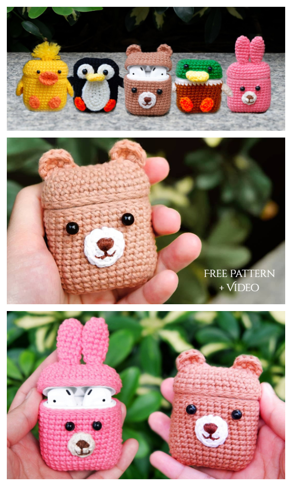 Animal Airpods Case Free Crochet Pattern + Video