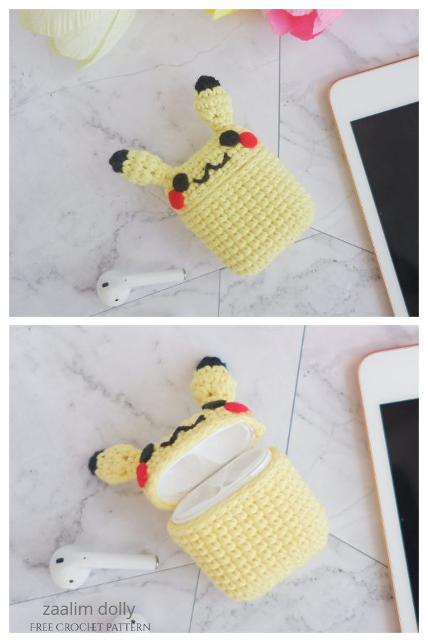Pikachu Airpods Case Free Crochet Patterns