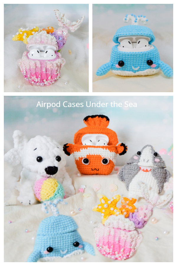 Under the Sea Airpod Cases Free Crochet Pattern Video Tutorial