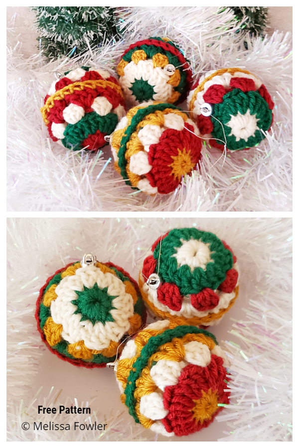 Christmas Holly Jolly Balls Ornament Free Crochet Patterns