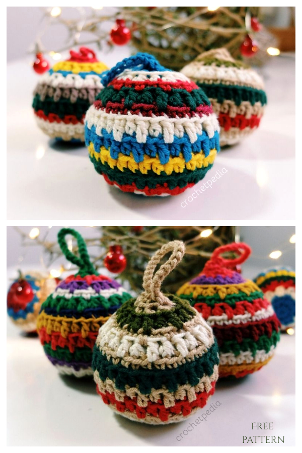 Soft Christmas Baubles Ornament Free Crochet Patterns