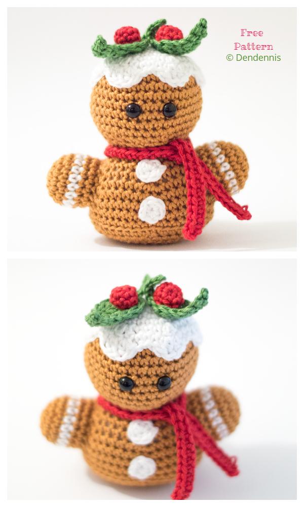 Christmas Crochet Gingerbread Man Bust Amigurumi Free Patterns