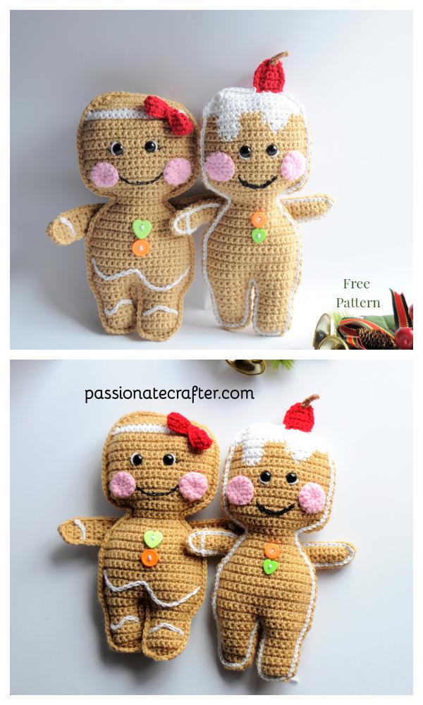 Christmas Crochet Gingerbread Cookies Doll Amigurumi Free Patterns