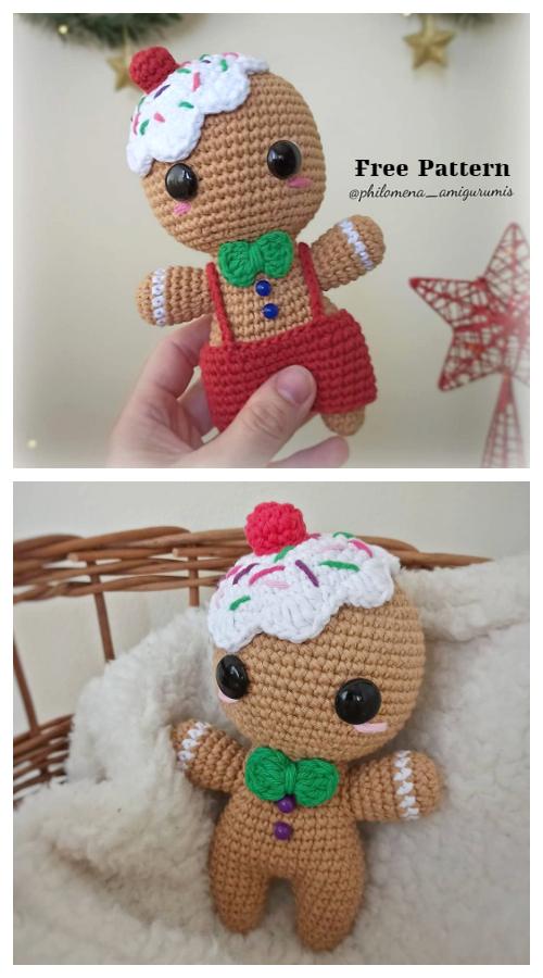 Christmas Crochet Gingerbread Man Cookie Amigurumi Free Patterns