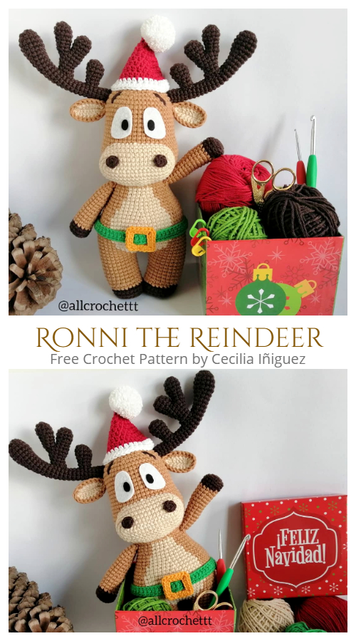 Christmas Crochet Ronni the Reindeer Amigurumi Free Patterns