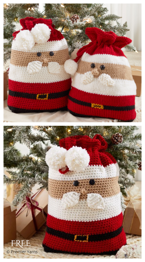 Christmas Santa Gift Bag Free Crochet Patterns